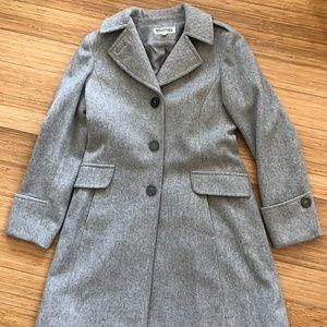 Michael Kors lined wool long pea-coat details